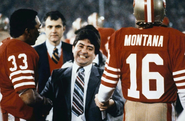 San Francisco 49ers Eddie Debartolo Jr. congratulates quarterback #16 Joe Montana and running back #33 Roger Craig after the 49ers defeated the Miami Dolphins to win super bowl in 1985. (AP Photo)