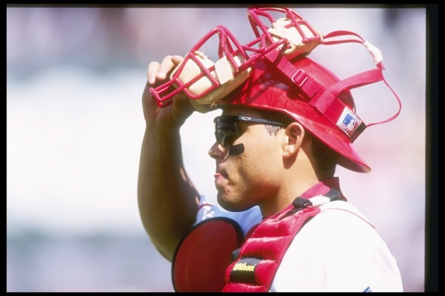 Catcher Ivan Rodriguez of the Texas Rangers stands on the field during a game against the Kansas City Royals at the Ball Park in Arlington, Texas. The Royals won the game 6-2.